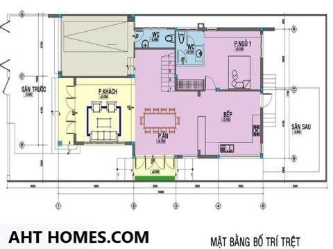 Mẫu nhà biệt thự 2 tầng mái bằng