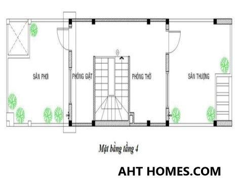 Mẫu nhà phố 4 tầng trên diện tích 4x16m