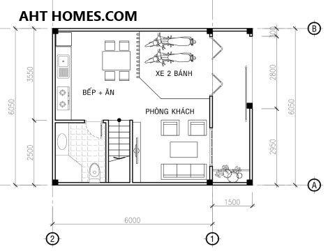 nhà phố 3 tầng mái lệch mặt tiền 6m